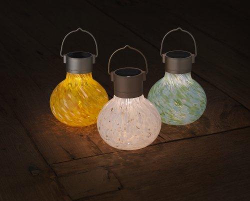 Allsop Home and Garden Solar Tea Lantern, Handblown Glass with Solar Panel and LED Light, Weather-Resistant for Outdoor Deck, Patio, Garden, Wedding, Saffron, 1-Count