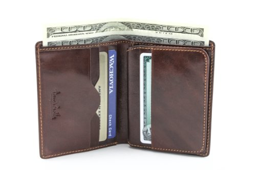 Vertical Italian - Tony Perotti Italian Bull Leather Express Front Pocket Vertical Trifold Credit Card Wallet with ID Window, Brown
