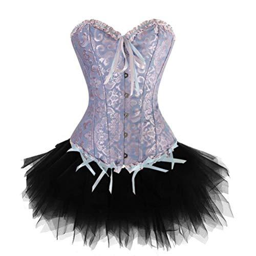 Doma Leather - Women's Lace Up Burlesque Floral Boned Corset Dress Overbust Waist Bustier with Tutu Skirt Costume Set Plus Size S-6XL (Classic Blue,Medium)