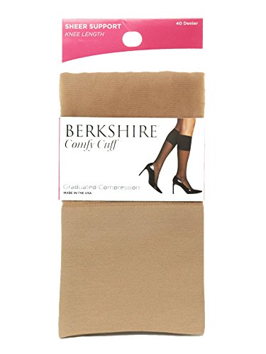 Berkshire Women's Sheer Graduated Compression Trouser Sock, Nude, Regular Size 40 Knee Compression Stockings