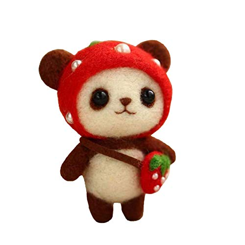 Cool Beans Boutique Wool Felting DIY Kit with Tools – Panda Bear with Red Strawberry Hat and Bag (with English Instructions) – Great Starter kit ()