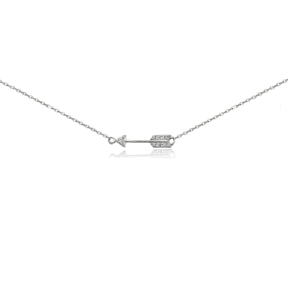 Sterling Silver Cubic Zirconia Sideways Arrow Choker Necklace