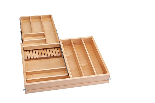 Rev-A-Shelf 4WTCD-30SC-1 Double Tiered Cutlery Drawer with Soft-Close Slides, 27'', Natural by Rev-A-Shelf