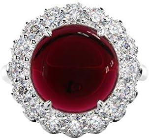 Daesar Silber 925 Ring Frauen Halo mit Rot Kristall Verlobungsring Trauring Silber