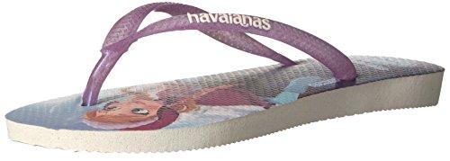 Havaianas Slim Flip Flop Sandals, Kids, Frozen, White,33/34