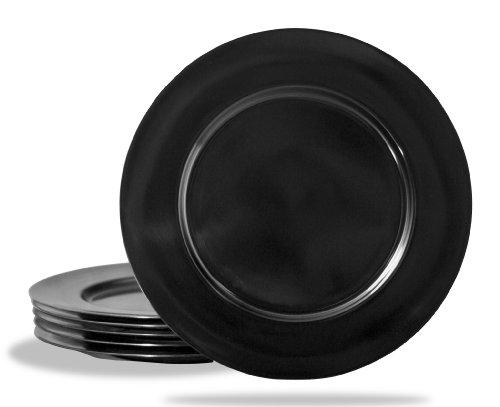 Calypso Basics by Reston Lloyd Melamine Dinner Plate, Set of 6, Black