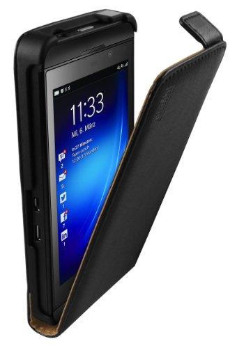 mumbi PREMIUM Leder Flip Case BlackBerry Z10 Tasche Hülle