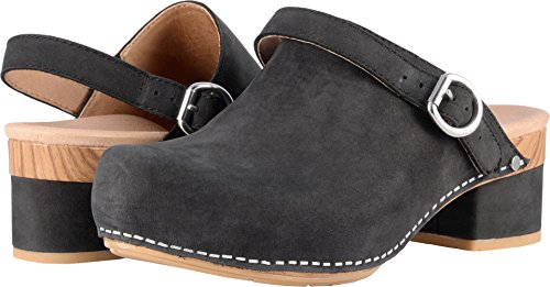 Dansko Women's Marty Clog Black Milled Nubuck Size 37 EU (6.5-7 M US Women)
