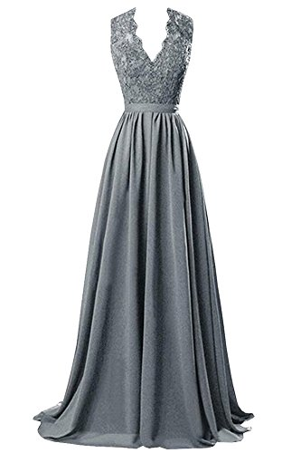 Bridesmaid Dresses Open Back Prom Dresses V-Neck Long Chiffon Evening Gowns with Lace Stssl Grey US2 (Prom Dress Gown Chiffon Satin)