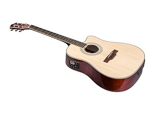 Monoprice 6 String Idyllwild Foothill Acoustic Electric Guitar with Tuner, Pickup, and Gig Bag, Natural (610060)