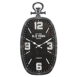 Creative Decoration Oval Pocket Watch Wall Clock Living Room Bedroom Mute Clock Hotel Restaurant Wall Charts - Black