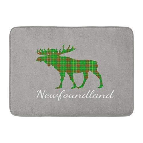 Tartan Newfoundland (Custom Doormats Cute Tartan Moose Newfoundland Home Door Mats 18 x 30 Inches Entrance Mat Floor Rug Indoor/Outdoor/Front Door/Bathroom Mats Rubber Non Slip)