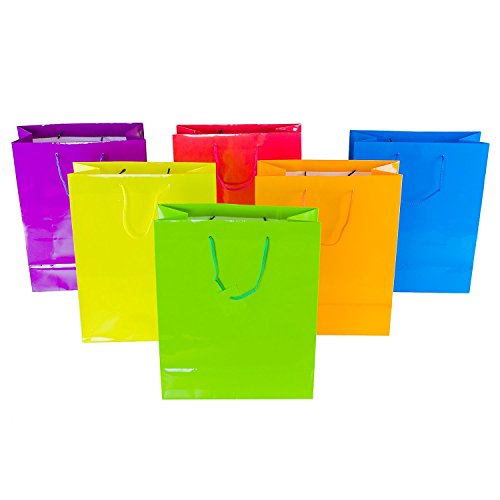 Ifavor123 Assorted Neon Bright Color Gift Bags for Any Occasion - Small (9H x 7.5L x 3.5W) - 12 Pack
