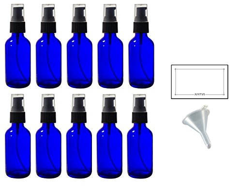 2 oz Cobalt Blue Glass Boston Round Treatment Pump Bottle (10 pack) + Funnel and Labels for essential oils, aromatherapy, food grade, bpa free