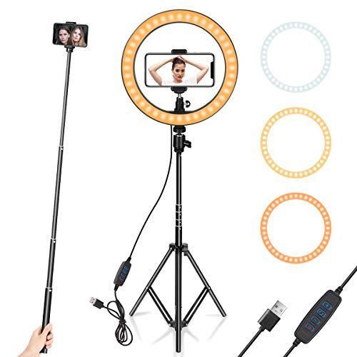 MOBILITO 10 inch Selfie Light Ring with 7 Feet Tripod Stand and Phone Holder Dimmable Ring Light Kit, Led Ring Light for YouTube Video Live Streaming TikTok Photography Makeup