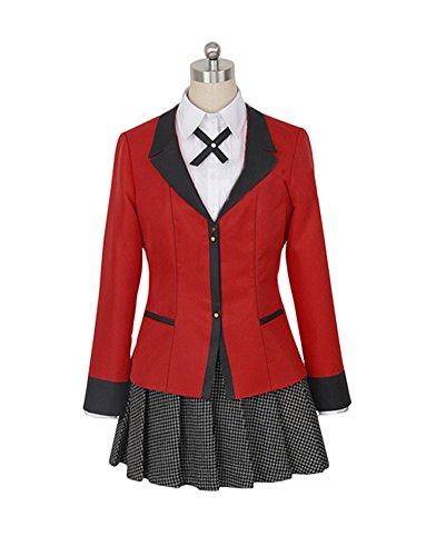 Wish Costume Shop Compulsive Gambler Anime Yumeko Jabami Cosplay Costume Full Set (M, Red)