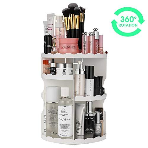 Makeup Organizer, LIFU 360 Degree Rotating and Adjustable Multi-Function Cosmetic Storage Box, Extra Large Capacity, Space Saving, Fits Toner, Creams, Makeup Brushes, Lipsticks and More (White)