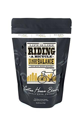a Bicycle - Screenprint Style - Albert Einstein (High) (8oz Whole Bean Small Batch Artisan Coffee - Bold & Strong Medium Dark Roast w/ Artwork) ()