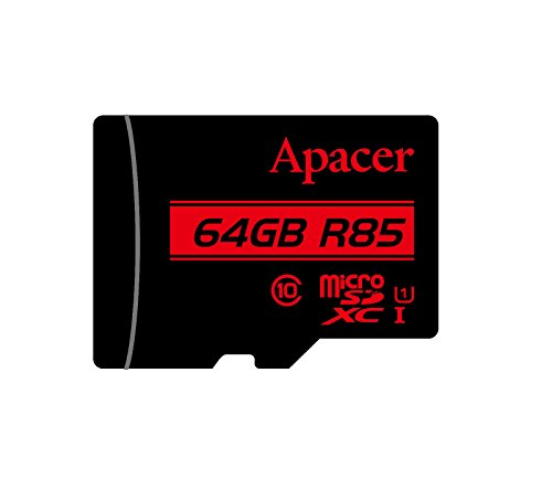 Micro SD Card Apacer 64GB UHS-I U1 Class 10 SDXC Memory Card with Adapter , R85 (Apacer Laptop Memory)