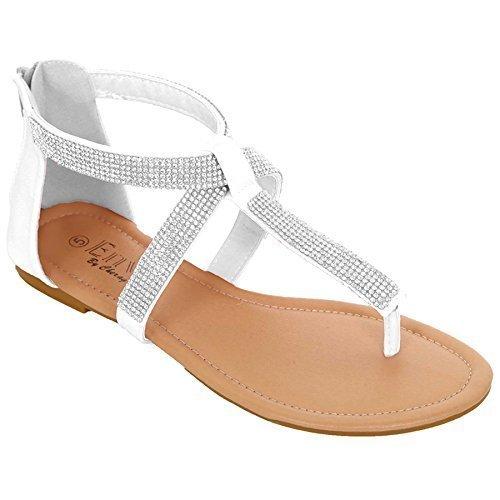 Sapphire Damen Sandalen Schmucksteine Gekreuzte Riemen Zehensteg Weiß