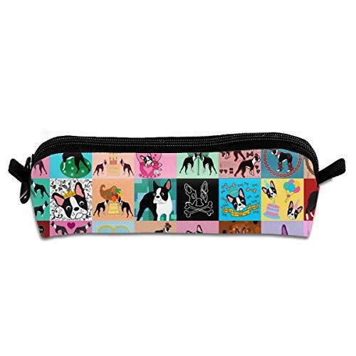 - Crazy Faux Boston Terrier Pencil Bag Pen Case, Students Stationery Pouch Zipper Pen Case Box for Pens, Pencils Drawing Painting Children - Big Capacity Makeup Bag