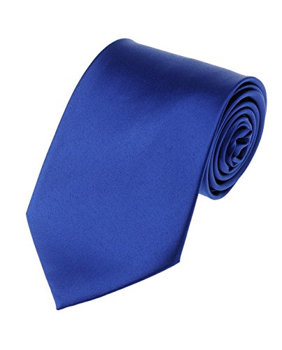 Men's Smooth Satin Solid Color Extra Long XL Necktie, Royal Blue