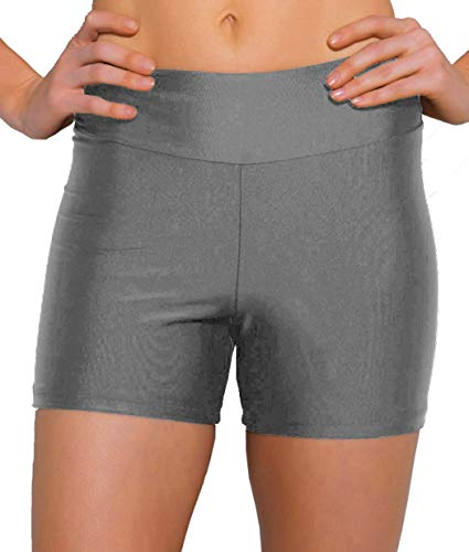 ebuddy Women Summer Swimwear Tummy Tuk Swim Bottom Shorts,Grey,M (US8) ()