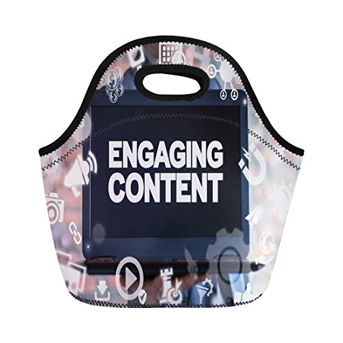 Semtomn Lunch Bags Engaging Content Marketing Success Mix Social Media Sharing Businessman Neoprene Lunch Bag Lunchbox Tote Bag Portable Picnic Bag Cooler Bag