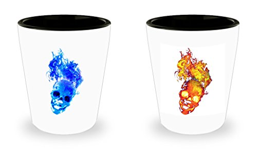 Flaming Skull Shot Glasses set of 2 - halloween -