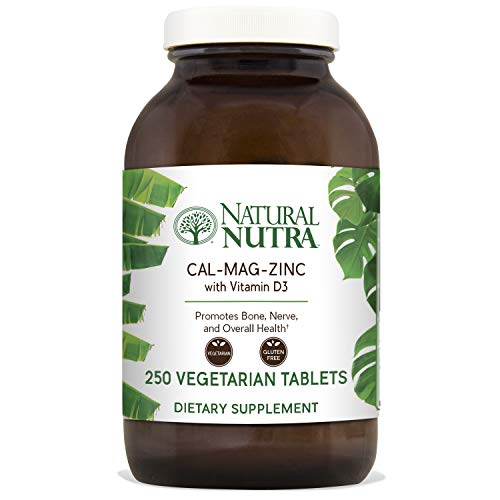 Natural Nutra Calcium Magnesium Zinc Supplement with Vitamin D3, 1000/500/25 mg Cal-Mag-Zinc, 250 Vegetarian Tablets