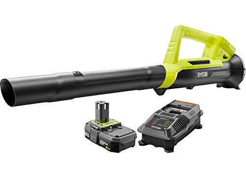 Ryobi ONE 90 MPH 200 CFM 18-Volt Lithium-Ion Heavy Duty Durable Cordless Leaf Blower - 2.0 Ah Battery and Charger Included, Compact, Lightweight Design Ideal For Use On Hard Surfaces