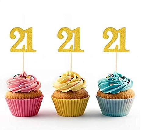 Topfun 24 unidades 21 cumpleaños Cupcake Topper número 21 ...