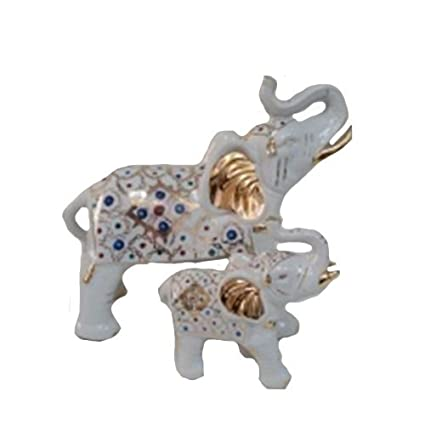 Nice PMJC Company White Porcelain Elephant Statue Figurine With Hand Painted  Pattern And Gold Accents (Set