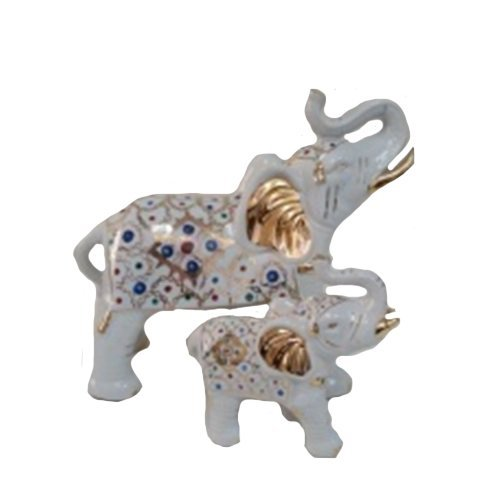 - PMJC Company White Porcelain Elephant Statue Figurine with Hand Painted Pattern and Gold Accents (Set of 2), 10