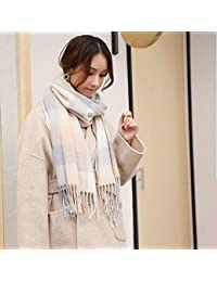 nwn Scarf Female Winter Korean Version of The Wild Thick Student Plaid Shawl Dual-use Small Fresh (Color : B)