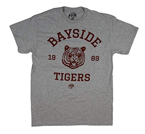 Saved By The Bell Shirt - Mens Bayside Tigers Vintage T-Shirt (Heather Grey, X-Large)