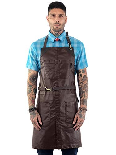 Under NY Sky No-Tie Brown Apron - Coated Twill with Leather Reinforcement, Split-Leg, Adjustable for Men and Women - Pro Barber, Tattoo, Barista, Bartender, Hair Stylist, Server Aprons