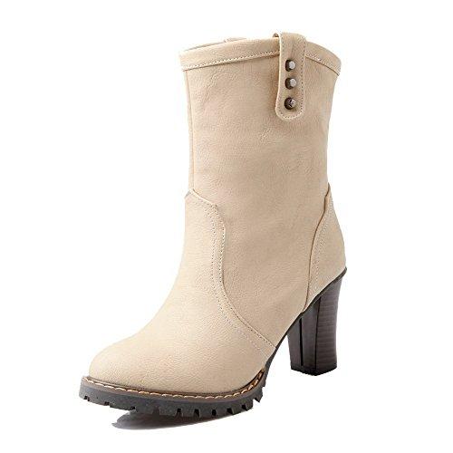 AgooLar Damen Ziehen auf Rund Zehe Hoher Absatz PU Überknie Hohe Stiefel Stiefel, Schwarz, 39