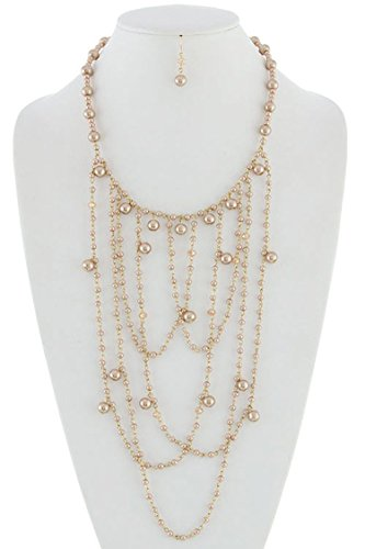 Champagne Colored Costume Jewelry (KARMAS CANVAS CHARMING GLASS BEAD AND PEARL DRAPED STATEMENT NECKLACE SET (Champagne))