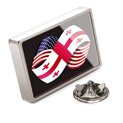 (NEONBLOND Lapel Pin Friendship Flags USA and Georgia)