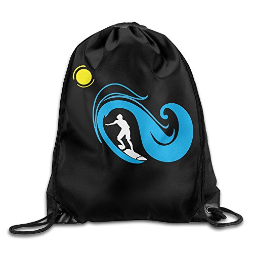 Surfing Silhouette Drawstring Backpack Beam Mouth School Travel Backpack Shoulder Bags For Men / Women from 05_&_NG