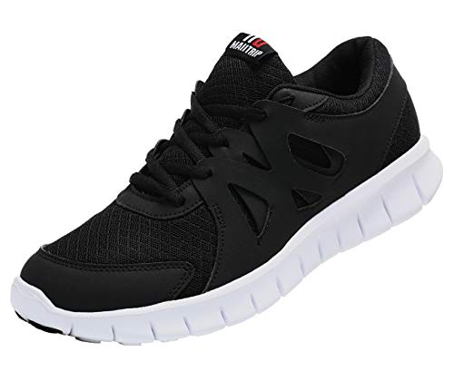 MAIITRIP Men's Running Shoes, Lightweight Non-Slip Gym Athletic Sneakers, Breathable Sport Causal Tennis Walking Shoes. Black/White, Size 9.5