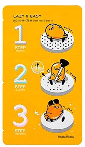 (3 Pack) HOLIKA HOLIKA Gudetama Lazy & Easy Pig Nose Clear Black Head 3 Step Kit 5 In 1 Derma Roller Dermaroller Micro Needle Body Facial Skin Rejuvenation Health Care Kit Anti-Aging Tool