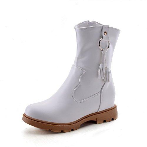 White Metal Boots Tassels Ornament BalaMasa Ladies Imitated Leather Comfort 8qzx1