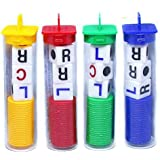 LCR - Left Center Right Dice Game- 4 Sets - (Assorted Color Chips) Family Table Games Classmates Friends Colleagues Funy Toys
