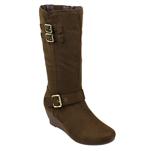 Beston EJ71 Women's Fashion Side Zipper Mid-Calf Wedge Boots Half Size Small, Color Brown, (Ladies Brown Suede Boots)