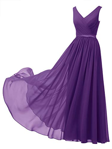 Alicepub V-Neck Chiffon Bridesmaid Dress Long Party Prom Evening Dress Sleeveless, Regency, US6