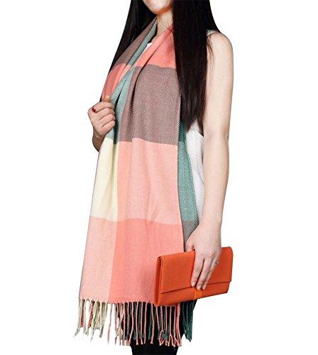 Loritta Womens Plaid Blanket Long Shawl Winter Warm Big Grid Large Scarf Scarves