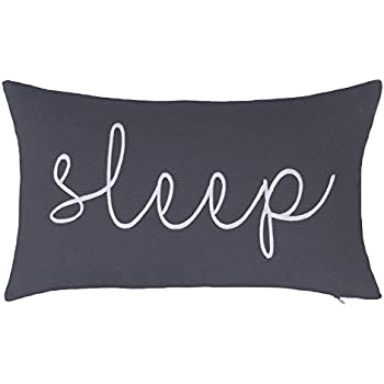 """DecorHouzz Sleep Sentiment Ivory Embroidered Pillow Cover Cushion Cover Pillow Cases Throw Pillow Decorative Pillow Wedding Birthday Anniversary Gift 12""""x20"""" (Grey)"""