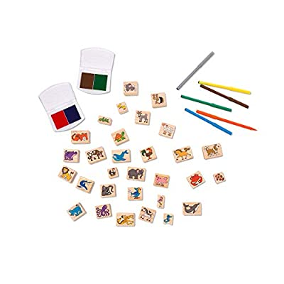 Melissa & Doug Deluxe Wooden Stamp Set – Animals: Toy: Toys & Games